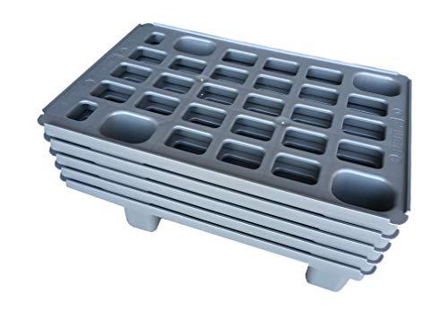 5x Leichtpalette 60x40 Kunststoffpalette im 1/4-Europaletten Maß inkl. gratis Zollstock * Viertel Palette, 5er Set