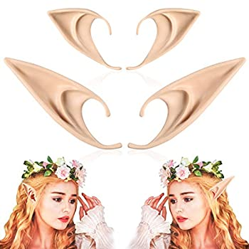 2 Pairs Elf Ears - Medium and Long Style Cosplay Fairy Pixie Elf Ears Soft Pointed Ears Tips Anime Party Dress Up Costume Masquerade Accessories Halloween Elven Vampire Fairy Ears  2 Pairs