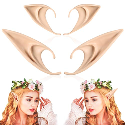 FRESHME 2 Pairs Elf Ears - Medium and Long Style Cosplay Fairy Pixie Elf Ears Soft Pointed Ears Tips Anime Party Dress Up Costume Masquerade Accessories Halloween Elven Vampire Fairy Ears (2 Pairs)