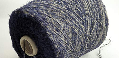 PhiloTeXX 800 g Baumwollgarn GP 22,00 €/kg blau grau Nm 4 Fransengarn Chenillegarn Effektgarn Stricken 100% Baumwolle