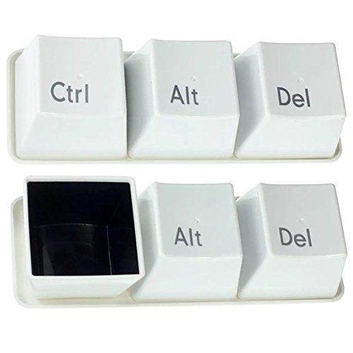3 tazas de las teclas del ordenador Ctrl, Alt, Del 3 de la taza con té Negro