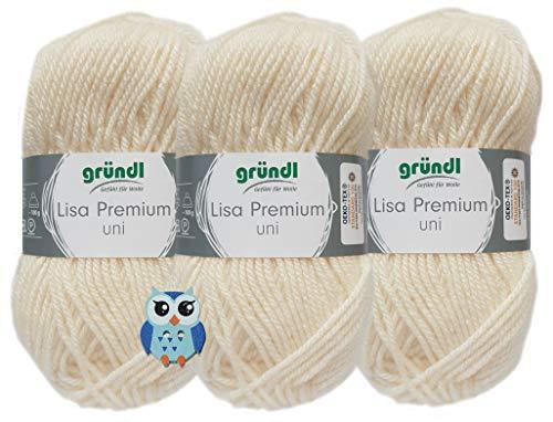 3x50 Gramm Gründl Lisa Premium Uni aus 100% Polyacryl Häkelgarn Schulgarn + 1 Eulen Knopf (02 Creme)