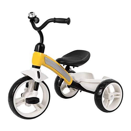 HYDDG para niños Triciclo, Triangular Estable La Seguridad Estructura para Niños pequeños 2-6 años Antiguo Chico Chica con Niñito Equilibrar Bicicleta con EVA Conmoción Rueda,Amarillo