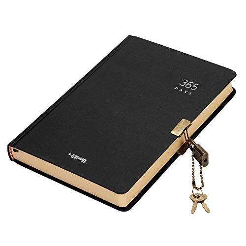 Taccuino segreto con serratura, formato A5, con password, diario segreto per 365 giorni, blocco note, diario di viaggio, scrittura, scarabocchio, diario, scrapbook, con blocco codice Nero