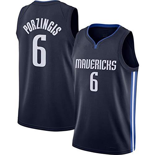 #6 Kristaps Porzingis Dallas Mavericks Basketball-Trikot, Trainings-Trikot, kurzärmlig, schnell trocknend, für Erwachsene, 123, Schwarz , L(180~185)