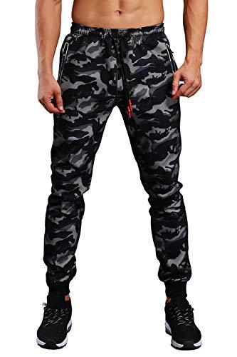 EKLENTSON Herren Camouflage Jogger Fitness Junggen Streetwear Freizeit Essentials Schwarz-Grau