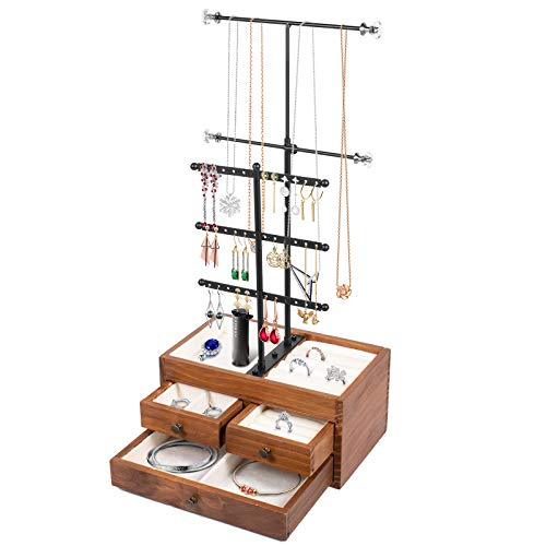 Jewelry Stand Holder Jewelry Organizer Stand Earring Stand Necklace Holder 2 Layer Wooden Jewelry Storage Drawer Box with 5 Tier Jewelry Tree Tower Jewelry Hanging Display Holder for Necklaces Bracelet Earring Ring