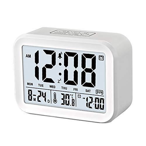 CAMPSLE Reloj Despertador con Pantalla LED, Despertador con retroiluminación Digital de repetición con Temperatura de Calendario, Reloj de iluminación Inteligente para Dormitorio, Oficina, hogar