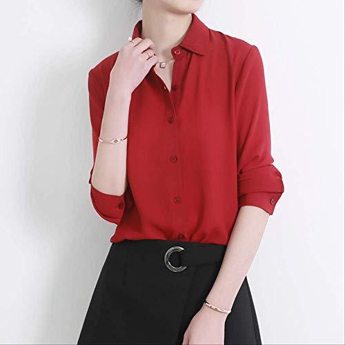 LYFST dames hemd dames hemd klassiek chiffon hemd dames grote maat losse lange mouwen vrijetijdshemd dames eenvoudige stijl top kleding