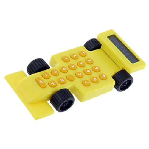 uxcell 8 Digits Display Race Car Yellow Orange Calculator
