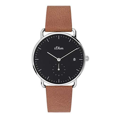 s.Oliver Damen Analog Quarz Uhr mit Leder Armband SO-3716-LQ