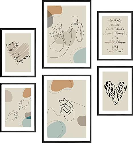 Stilux   Juego de pósteres Premium   6 elegantes imágenes para salón y dormitorio   Decoración de pared moderna   2 x DIN A3 (aprox. 30 x 42 cm) y 4 x DIN A4 (aprox. 21 x 30 cm)   Life – sin marco.
