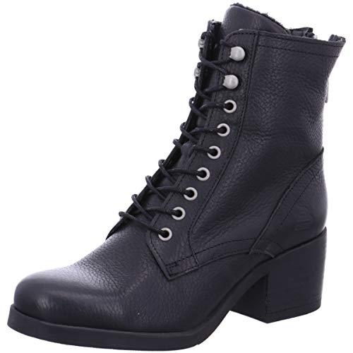 BULLBOXER Damen Stiefeletten, Frauen Schnürstiefelette, Woman Freizeit leger Stiefel Chukka Boot halbstiefel schnür-Bootie,Schwarz,38 EU / 5 UK