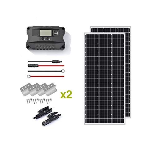 Newpowa 200W(2pcs 100W) Monokristallin Solarmodul SolarKabeln und 12V/24V PWM 20A SolarLaderegler Positiv-Erdung Camping, RV,Camper,Wohnwagen Product Name
