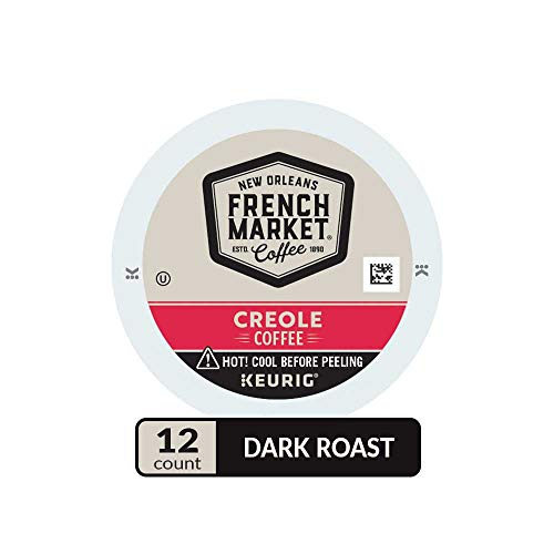 French Market Coffee & Chicory Single Serve Cups, Med Dark Roast,12 Count