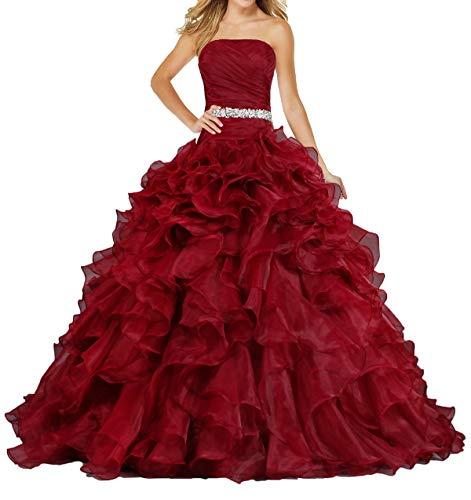 ANTS Women's Pretty Ball Gown Quinceanera Dress Ruffle Prom Dresses Size 22W US Fire Brick (Apparel)