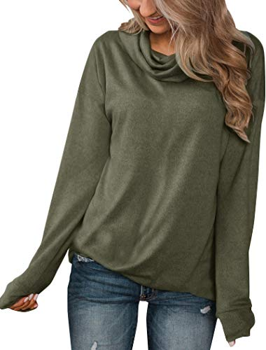 Minthunter Women's Long Sleeve Pullovers Cowl Neck Henleys Shirt Casual Sweatershirt Tops (Large, Olive)