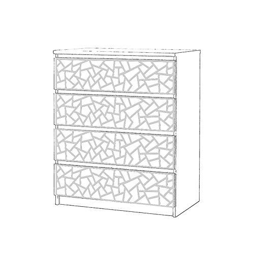 Moonwallstickers.com IKEA Malm Overlays - Adecuado para Muebles IKEA MALM, PVC Blanco de 5 mm, 4 Drawers – Coral