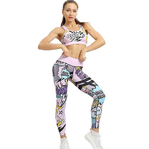 Yogabroek extra zachte legging met zakken voor dames,Leuke bedrukte yogabroek, sportlegging met stretch-Pink_S,Blouse met V-hals