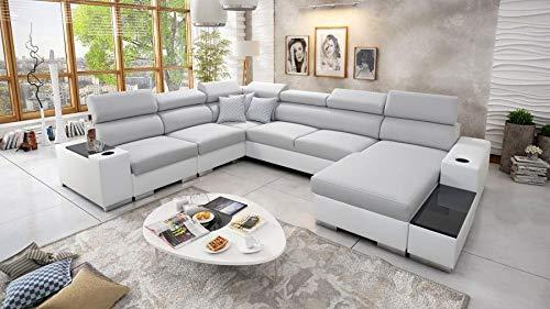 Großes Ecksofa Wohnlandschaft Piano Abstellfläche Polstersofa Couch XXL Sofa 26 (Rechts)