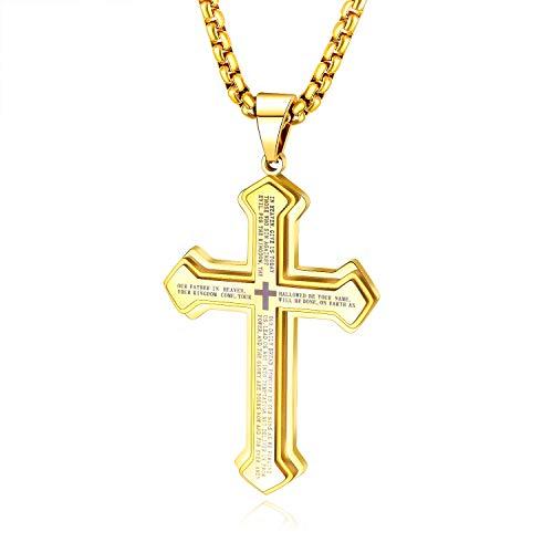J.May Herren-Halskette mit Kreuz-Anhänger Herrenkette Männer Kette, Edelstahl Halskette Kubanischer Ketten Silber Gold 60 cm Biker Punk Rock Herren-Accessoires (Gold)