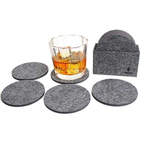 Summit One Premium Felt Absorbent Coasters, Set of 8 (4 Inch Round, 5mm Thick) - Super Absorbent Coasters For Drinks - Includes Matching Felt Coaster Holder in Gift Box