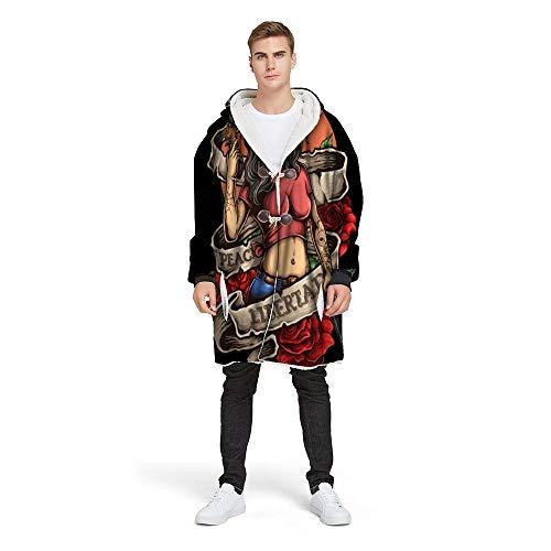 Abrigo de algodón + poliéster Chaqueta con Capucha Abrigo Sexy Killer Abrigo de casa Abrigo de botón-ABJK-5, XL