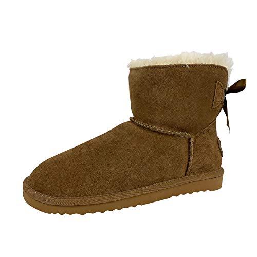 OOG Boots Damen 6 Zoll Premium Stiefel mit Schleife, Schneestiefel mit Echt-Leder, warme und Fell gefütterte Winterschuhe, rutschfeste, Flache und Kurze Stiefel in Camel 40 EU