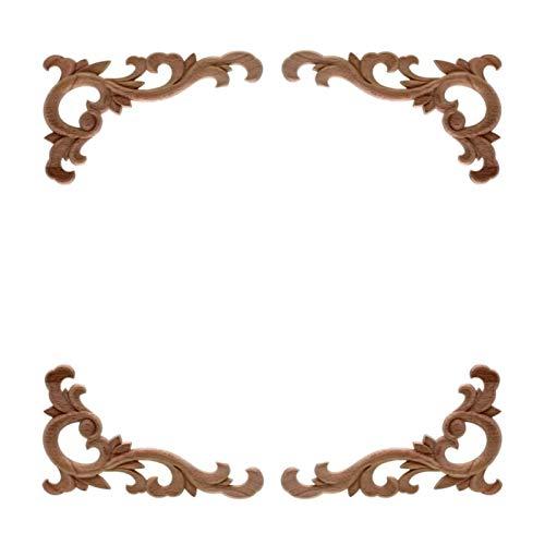 Zzx Holzapplikationen geschnitzt Vintage unlackierter Holz geschnitzter Aufkleber Ecke Applique Rahmen für Home Wandschrank Tür dekorative hölzerne Miniaturhandwerk (Color : 4pcs, Size : 12 * 6cm)