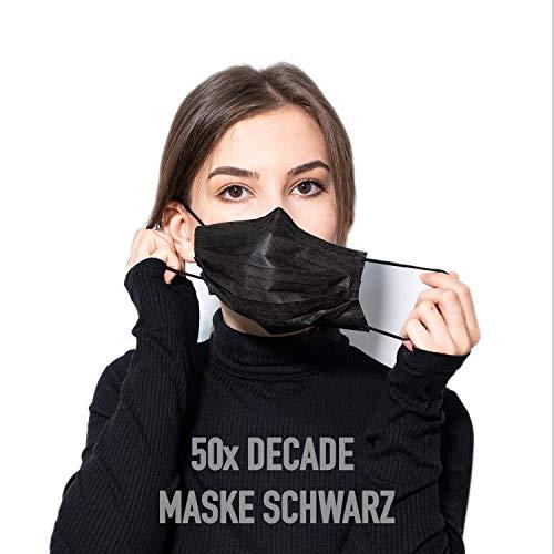 DECADE® 50x Einweg Masken Gesichtsmasken Vlies Einwegmaske Mundschutz Staubschutz MNS Farbe Schwarz Black Atemmaske Atemschutzmaske 3lagig Maske