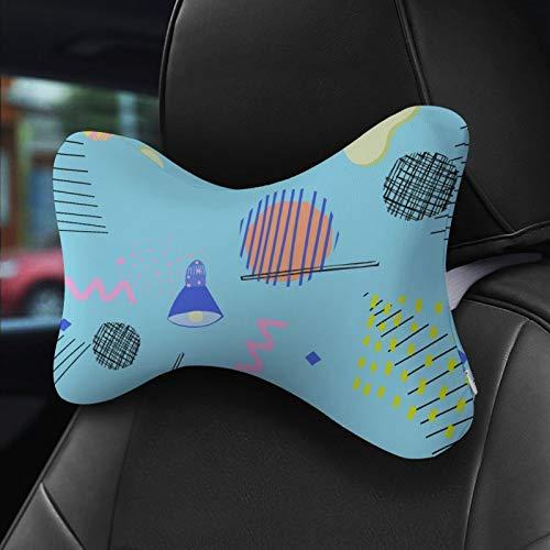 YY-one 2 Sets Knochen-Kissen, blau, geometrisch, bequem, entspannend, Kopfstütze, weiches Knochen-Kissen für Auto-Fahren, Auto-Dekoration