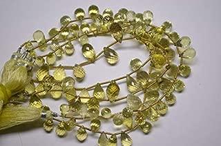 "Jewel Beads Natural Beautiful jewellery 8"" Strand 8-10mm Natural Green Gold Lemon Quartz Micro Faceted Drop Shape Briolette BeadsCode:- JBB-33466"
