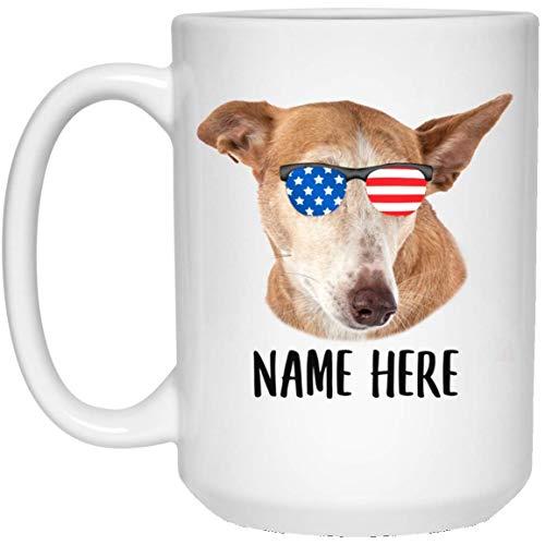 N\A Nombre Personalizado Ibizan Hound Dorado Rojo con Bandera Americana Gafas de Sol Taza de café Blanca