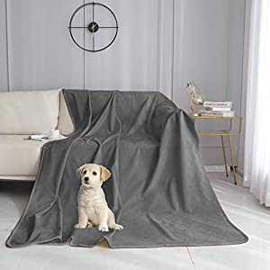 fuguitex Waterproof Dog Blanket Bed Cover Dog Crystal Velvet Fuzzy Cozy Plush Pet Blanket Throw Blanket for Couch Sofa(4060″,Dark Grey+Dark Grey