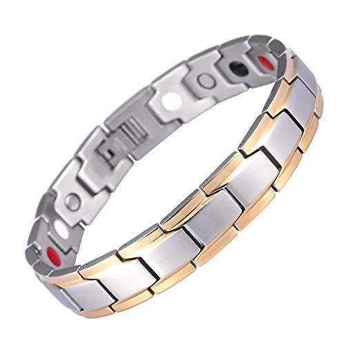 CG Energie Magnetic Health Armbänder, Armbänder Goldentwurf Für Mann Charm Gleichgewicht Armbänder Für Arthritis Schmerzlinderung Starke Magnete,Silber