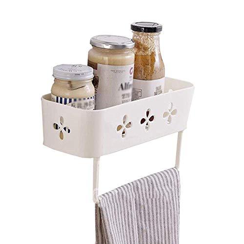 MJK Estante de almacenamiento de cocina doméstica, estantes de cocina Estante de especias Estante de almacenamiento de baño con barra de toalla Plástico montado en la pared