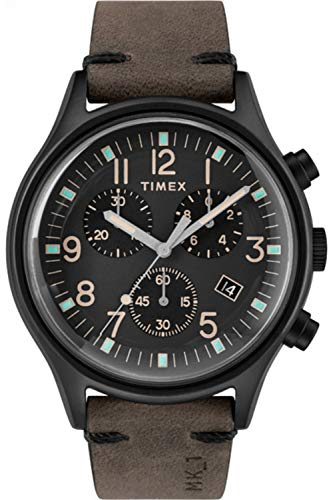 Timex Men's MK1 Steel Chronograph 42mm | Black Leather Strap | Watch TW2R96500
