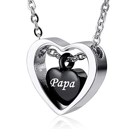 UGBJ Cremación Collar Collar de urna de Acero Inoxidable para Mujeres para Ceniza Doble corazón Encanto Negro Fuego bertía joyería Colgante Memorial para papá mamá Hombre