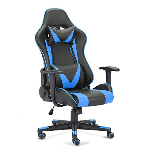 OGEFER PC Gaming Chair Computer Chair Racing Style Ergonomic with Headrest Pillow Lumbar Support Armrest Home Office Swivel Chair Rocking Function 180 Degree Reclining Massage Black Blue chairs Dining Features Game Kitchen Video