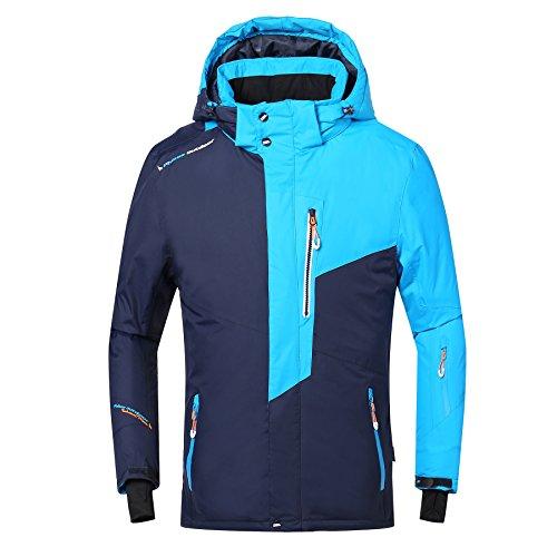 PHIBEE Mens Waterproof Windproof Outdoor Fleece Ski Jacket Blue M