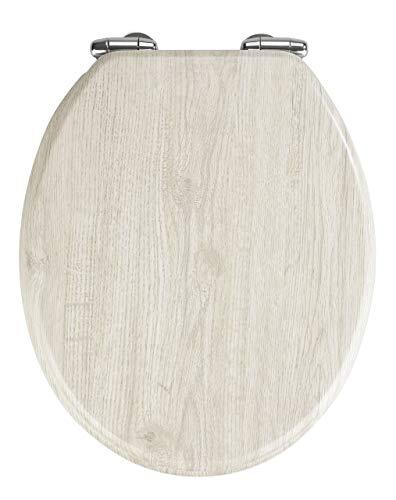 WENKO WC-Sitz Eiche Grau, Toilettensitz mit Absenkautomatik in Holz-Optik, WC-Deckel für sanftes Deckelschließen, mit Fix-Clip Hygienebefestigung, Toilettenbrille aus MDF, 35,5 x 42,5 cm, Hellgrau