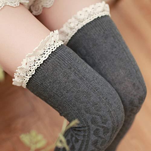 YAOLAN Calcetines Cordón de la Alta Rodilla del Tubo Largo Mujeres Calcetines, Tamaño: Un tamaño (Color : Gray)