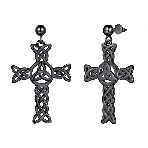 925 Sterling Silver Celtic Knot Cross Irish Drop Earrings Women Men Celtick Jesus Cross Religious Dangle Earring Black Gun Plated Infinity Celtic Cross Irish Knot Jewellery DE0231K