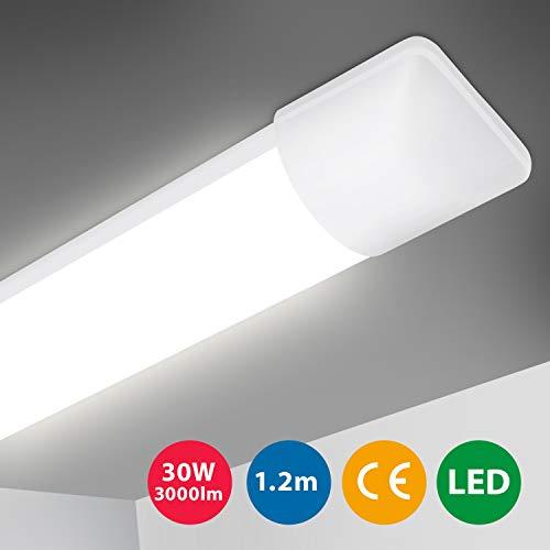 Oeegoo LED Deckenleuchte 120cm, LED Röhre, 30W 3000LM Ultraslim LED Deckenlampe Bürodeckenleuchte Werkstattlampe, LED Leuchte für Garage Keller Küche Badzimmer Wohnzimmer Warenhaus Neutralweiß 4000K