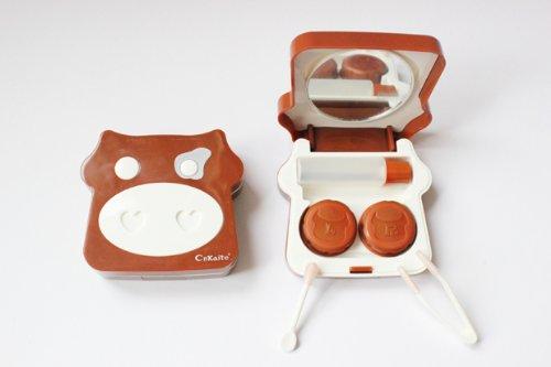 Kontaktlinsenbehälter Aufbewahrungsbehälter Etui Set Spiegel süß Milchkuh NEU (Braun)