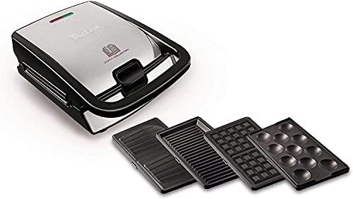 Tefal Snack Collection 2in1 Kombi-Gerät (Sandwichtoaster-Waffeleisen), spülmaschinengeeignete & abnehmbare Platten, Antihaftbeschichtung, 700 Watt, schwarz, Edelstahl, Belgisch