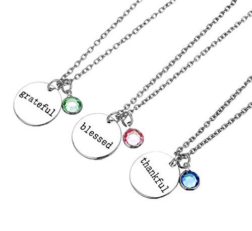 Fengteng Diamant Dreifarbig Dankbar gesegnet Dankbar Paar Pärchen Halskette Retro Diskette Gravierte Halskette 3 Stück
