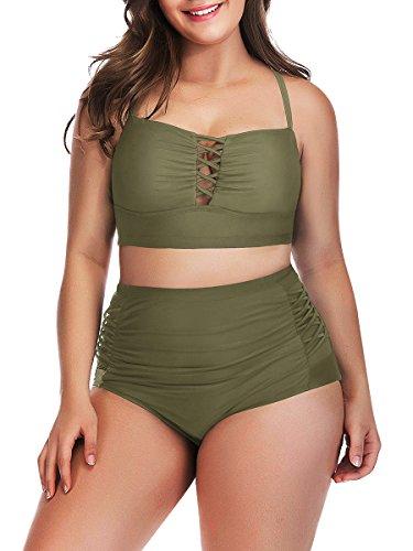 Yomoko Women's Plus Size High Waist Bandage Bikini Sets Chic Swimsuit Retro Bathing Suit (XX-Large, ArmyGreen)
