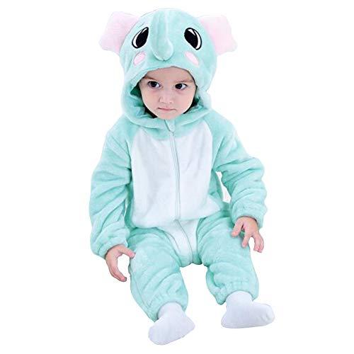 Enfant Combinaison Bébé Grenouillère avec Capuche Unisexe Pyjama Barboteuses Salopette Rompers One Piece (Elephant,90cm)