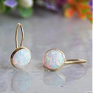 Dainty Minimalist White Opal Gemstone Dangle Earrings, 14K Solid Gold